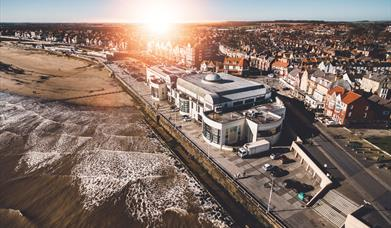 An image of Bridlington Spa from the air. This building houses the theatre, events & conference centre and also the Tourist Information Centre