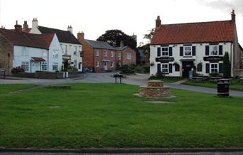 An image of North Newbald Village Green, with the centenary bench and The Gnu pub in the background
