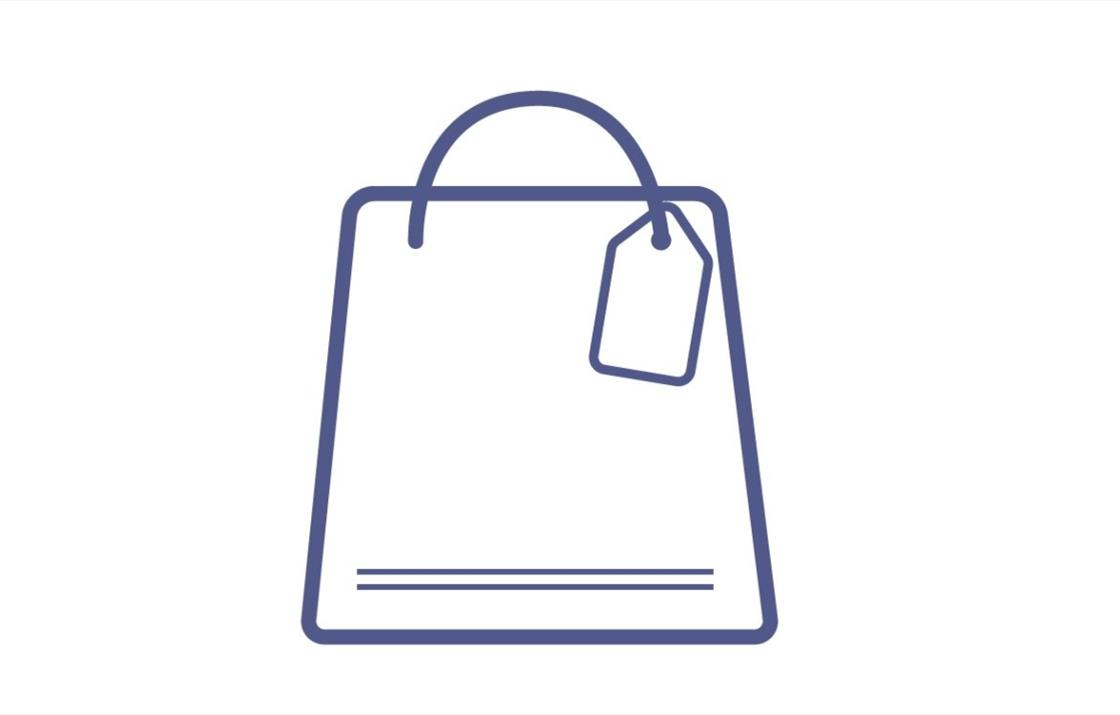 AN image of an icon of a shopping bag, representing a wide variety of shops & retail outlets
