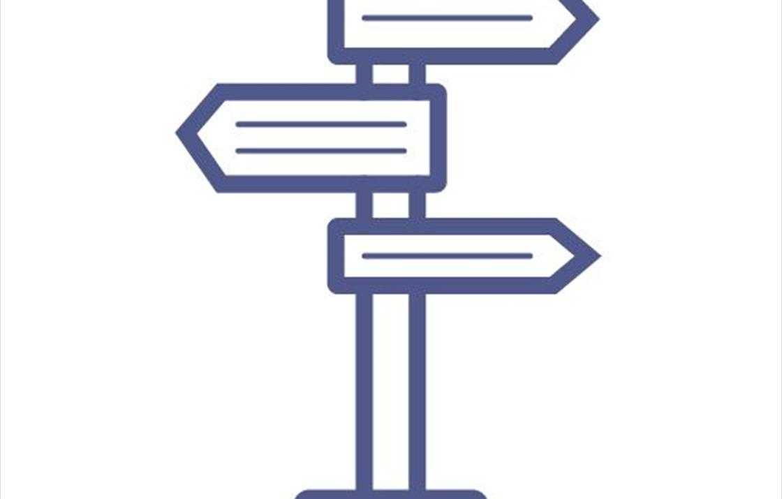 An image of an icon of a signpost, representing directions to go