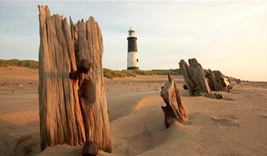 Spurn point beach and lighthouse
