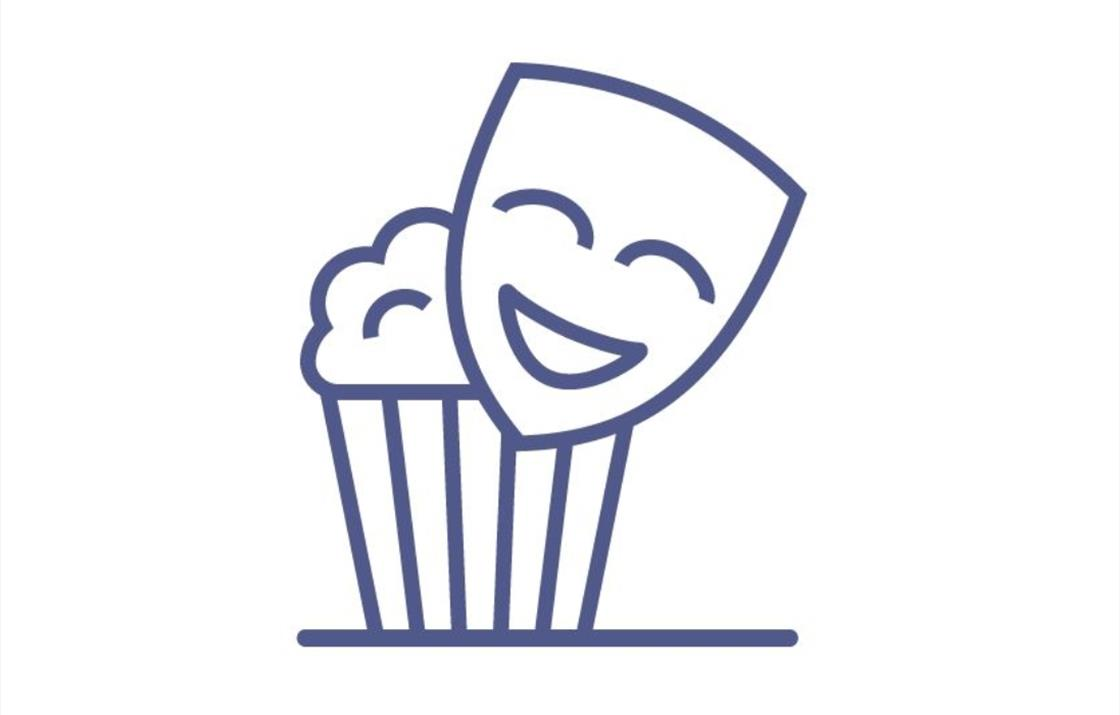 An image of an icon of a stage theatre mask with smiling face and a bucket of popcorn